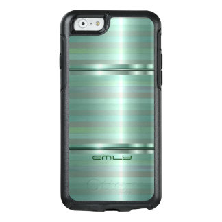 Rayas verdes metálicas simples funda otterbox para iPhone 6/6s
