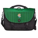 Rayas verdes personalizadas del doctor conocido bolsas para portátil
