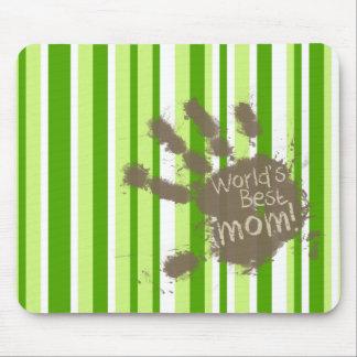 Rayas verdes; Rayado; Mamá divertida Alfombrillas De Raton