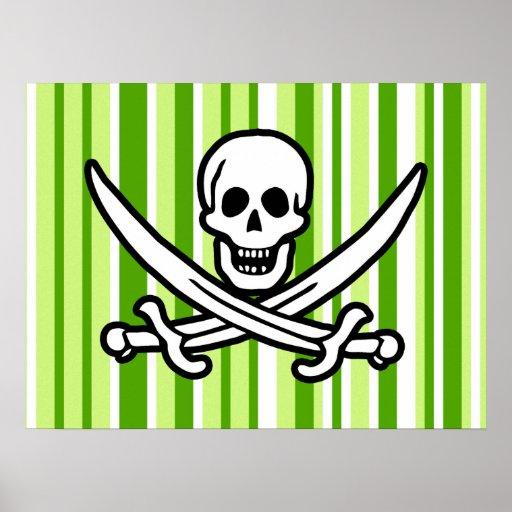 Rayas verdes; Rogelio alegre rayado; Pirata Póster