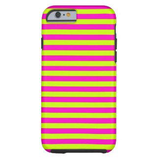 Rayas verdes rosadas y de neón de neón funda para iPhone 6 tough