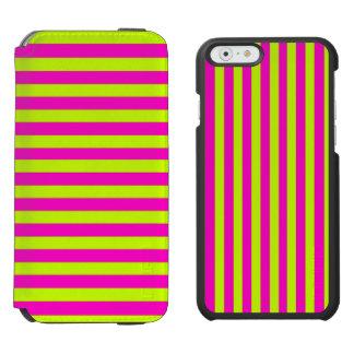Rayas verdes rosadas y de neón de neón funda cartera para iPhone 6 watson