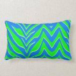 Rayas verdes y azules de neón de la cebra almohadas