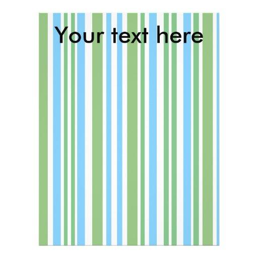 Rayas verdes y azules modernas en blanco tarjetón