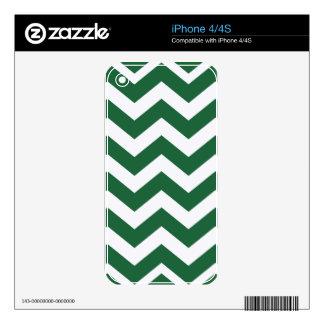 Rayas verdes y blancas de Chevron iPhone 4S Calcomanías