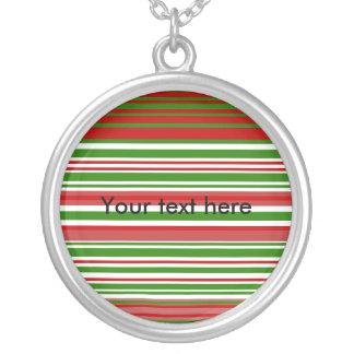 Rayas verdes y blancas rojas contemporáneas colgante redondo