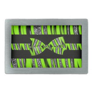Rayas verdes y negras de neón del brillo de la hebilla de cinturon rectangular