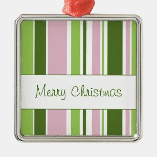 Rayas verdes y rosadas ornamento de navidad