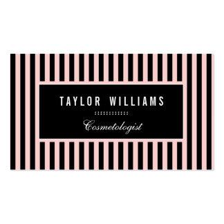 Rayas verticales elegantes, rosas claras y negras tarjetas de visita