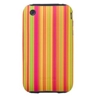 Rayas verticales multicoloras tough iPhone 3 carcasa