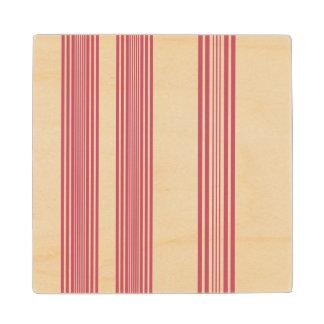 Rayas verticales rosadas finas del fondo blanco posavasos de madera