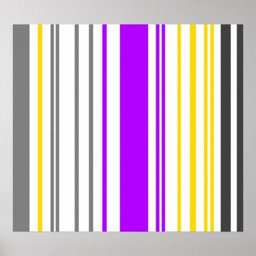 Rayas violetas y blancas amarillas contemporáneas impresiones