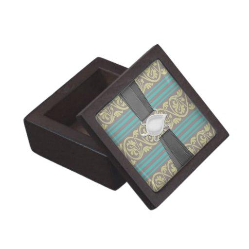 rayas y aceituna del marrón del trullo del damasco caja de recuerdo de calidad