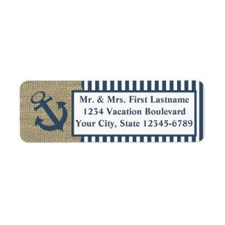 Rayas y ancla náuticas etiqueta de remite
