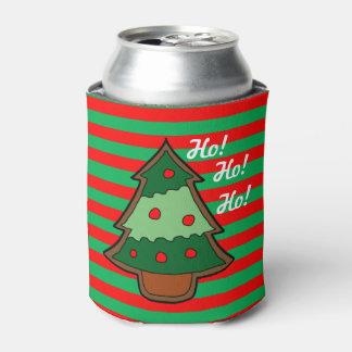 Rayas y árbol de navidad enrrollados enfriador de latas