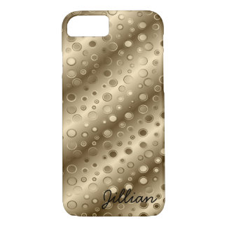 Rayas y burbujas diagonales del oro funda iPhone 7