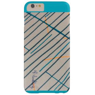 Rayas y caja azul funda para iPhone 6 plus barely there