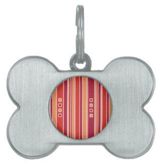 Rayas y cajas modernas de la granada placas de nombre de mascota