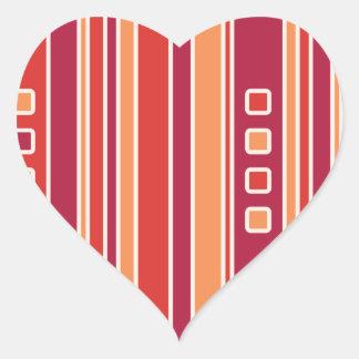 Rayas y cajas modernas de la granada calcomanía de corazón