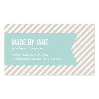 Rayas y cinta modernas beige y de la menta de lino tarjetas de visita