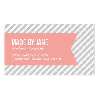 Rayas y cinta modernas grises y rosadas tarjetas de visita