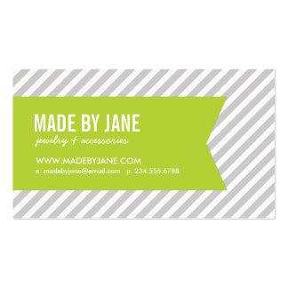 Rayas y cinta modernas grises y verdes tarjetas de visita