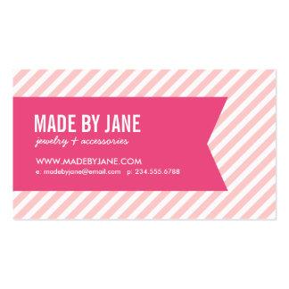 Rayas y cinta modernas rosas claras tarjetas de visita