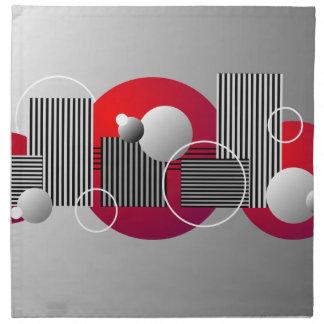 Rayas y círculos abstractos grises rojos negros servilleta de papel