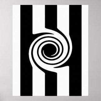 Rayas y extracto blancos negros modernos del remol póster