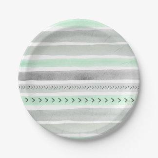 Rayas y flechas grises de la acuarela de la menta plato de papel de 7 pulgadas