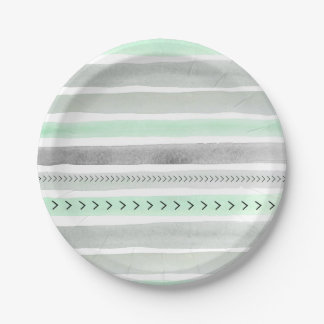 Rayas y flechas grises de la acuarela de la menta platos de papel