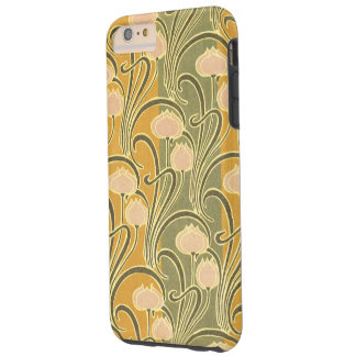 Rayas y flores de Nouveau del arte de Rene Funda Para iPhone 6 Plus Tough