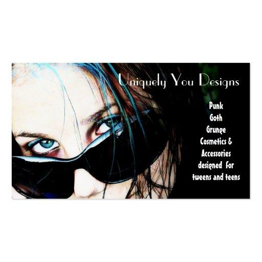 Rayas y gafas de sol azules plantilla de tarjeta de negocio