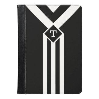 Rayas y galones blancos en negro con el monograma