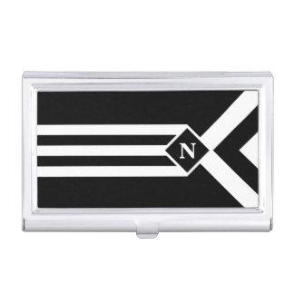 Rayas y galones blancos en negro con el monograma caja de tarjetas de presentación