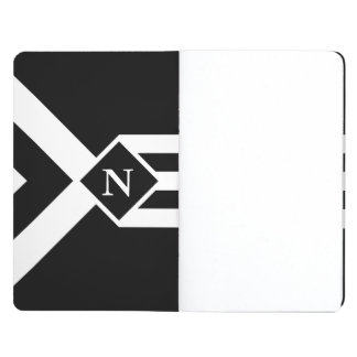 Rayas y galones blancos en negro con el monograma cuaderno