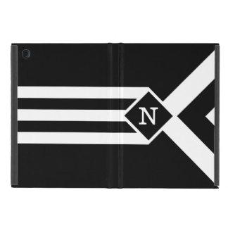 Rayas y galones blancos en negro con el monograma iPad mini fundas