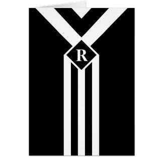 Rayas y galones blancos en negro con el monograma tarjeta de felicitación