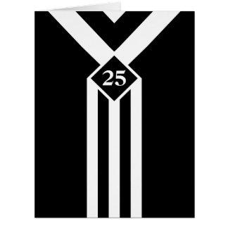 Rayas y galones blancos en negro con el monograma tarjeta de felicitación grande