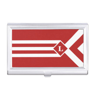 Rayas y galones blancos en rojo con el monograma cajas de tarjetas de negocios