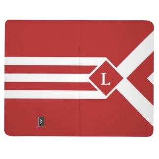 Rayas y galones blancos en rojo con el monograma cuadernos