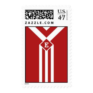 Rayas y galones blancos en rojo con el monograma estampilla