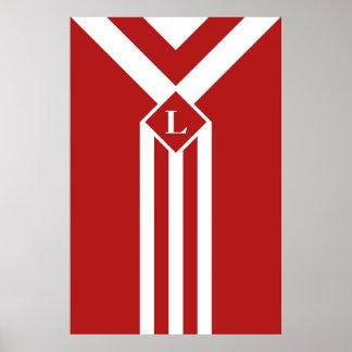 Rayas y galones blancos en rojo con el monograma póster
