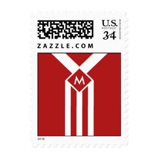 Rayas y galones blancos en rojo con el monograma sello