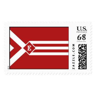 Rayas y galones blancos en rojo con el monograma sellos postales