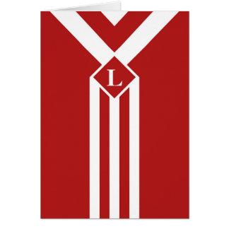 Rayas y galones blancos en rojo con el monograma tarjeta de felicitación