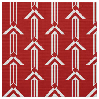 Rayas y galones blancos en tela roja telas