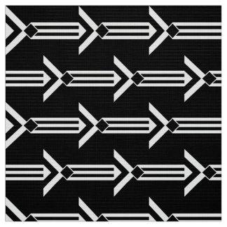 Rayas y galones blancos geométricos en negro telas