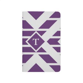 Rayas y galones grises en púrpura con el monograma cuadernos