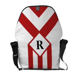 Rayas y galones rojos con el monograma en blanco bolsa messenger